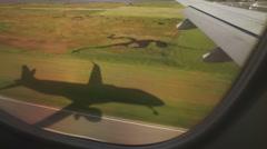 Big Jumbo jet airplane landing - shadow of the plane Stock Footage