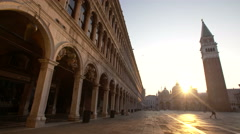 Piazza San Marco at sunrise in Venice, Italy Stock Footage