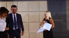 Business Team Boss Subordinates Discuss Near Center Office Stock Footage