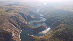 Aerial view on beautiful mountain river Stock Footage