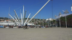 Bicycle in motion in Genoa Stock Footage