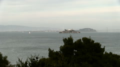 Alcatraz Island In San Francisco Bay Cloudy Sky With Boats Sped Up Stock Footage
