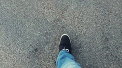 Man walking on road, POV Stock Footage