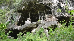 Eroded limestone cliff with cavern Rurutu island Stock Footage
