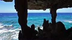View to the ocean from a cavern on the coast Stock Footage