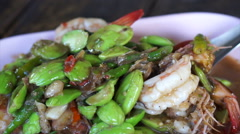 Southern Thai food. Stink bean fired with shrimp Healthy herb cuisine Stock Footage