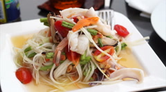 Thai spicy glass noodle seafood salad Stock Footage