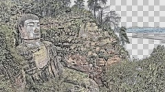 Leshan Giant Buddha. Stone sculpture faces Mount Emei, Sichuan, Leshan, China. Stock Footage