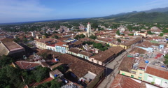 Bird's-eye view around main yellow chapel, roofs of ancient houses, central Stock Footage