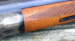 Close-up of a double-barreled shotgun Stock Footage