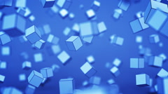 Chaotic blue cubes with shallow DOF 3D animation Stock Footage