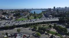 Urban Lake Aerial Stock Footage