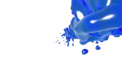 Blue liquid stream on white background.. syrup Stock Footage