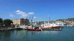Old cotton warehouses in Genoa Stock Footage