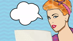 Comic woman with blank speech bubble. Stock Footage
