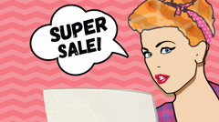 Sale. Pop art surprised woman face with speech bubble. Stock Footage