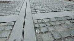 Walking pov over stone pavement, 4k steadicam Stock Footage