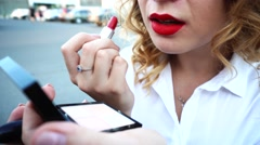 Business Woman Rouge Big Lips With Red Lipstick and Mirrow Stock Footage