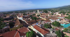 Bird's-eye panoramic view to roofs of ancient houses, central roads, buildings, Stock Footage