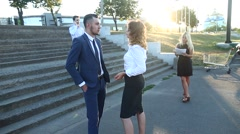 Business Situation Team Portrait Near Stairs Center Office Stock Footage
