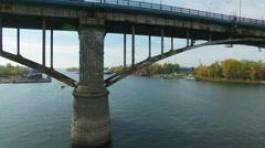 Aerial footage of bridge over Samara river Stock Footage