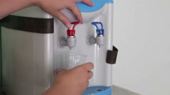 Filling Cup At Water Cooler, Water Dispenser Stock Footage