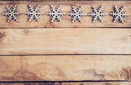Christmas decoration with wood snowflake on table with copy space Stock Photos