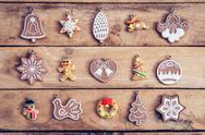 Christmas decoration set with snowflake on table wood with copy space Stock Photos