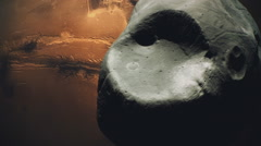 Follow Phobos in Gray look  over Mars Stock Footage