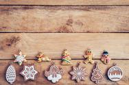 Christmas decoration with snowflake on table wood with copy space Stock Photos