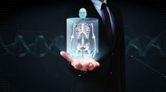 Businessman open palm, Zooming front Female and scanning Human skeletal , bone. Stock Footage
