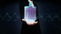 Businesswoman open palm, Zooming front Female body scanning Human blood vessel. Stock Footage
