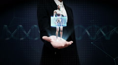 Businesswoman open palm, Rotating Female, cardiovascular system, skeletal, bone. Stock Footage
