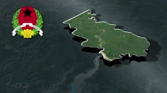 Bafata with Coat Of Arms Animation Map Stock Footage
