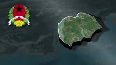 Bissau with Coat Of Arms Animation Map Stock Footage