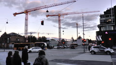 Busy Main Road Junction with Pedestrian Crossing in Central Copenhagen Stock Footage