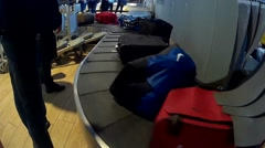 Luggage at carousel in the airport Stock Footage