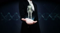 Businesswoman open palm, Rotating Female Human skeletal structure, bone system. Stock Footage