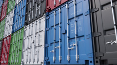 Stacks of colorful cargo containers. 4K seamless loopable dolly clip, ProRes Stock Footage
