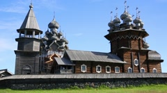 Wooden architectural ensemble on Kizhi Island in Russia Stock Footage