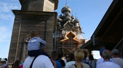 People on excursion on Kizhi Island in Russia Stock Footage