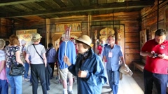 Tourists in Church of the Transfiguration on Kizhi Island Stock Footage