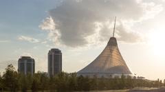 Shopping center built in the shape marquee. Sunset. Khan-Shatyr, Astana, Stock Footage