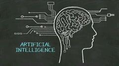 Handwriting Human head shape, cpu , 'Artificial Intelligence' at chalkboard. Stock Footage