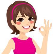 Okay Happy Woman Stock Illustration