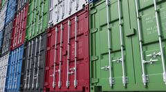 Stacks of colorful cargo containers. 3D rendering Stock Illustration