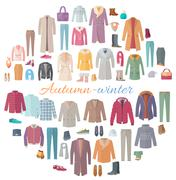 Autumn-Winter Clothes Collection Illustration Stock Illustration