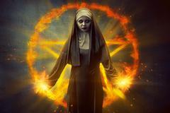 Pentagram And Devil Nun Stock Photos
