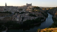 4k Cityscape of Toledo and view of Tajo River. Stock Footage