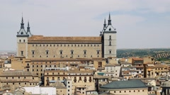Alcazar castle and view over the roofs of the city of Toledo, Spain Stock Footage